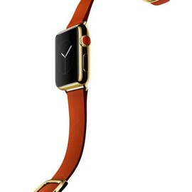 Apple - WATCH  38mm 18-Karat Yellow Gold Case With Bright Red Modern Buckle