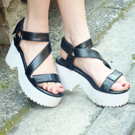 SLY - 【SLY】RUBBER MIDDLE HEEL SANDAL
