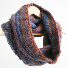 Luulla - sale chuncky circular cowl - knitted cowl blue and brown - Ready to ship