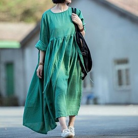 plus size dress - linen dress in green, maxi silk linen dress, pleated dress, plus size dress