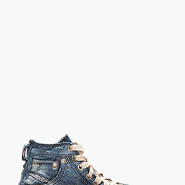 DIESEL - Blue and silver denim High-top Exposure sneakers