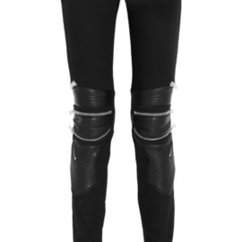 SAINT LAURENT - Leather-paneled skinny jeans