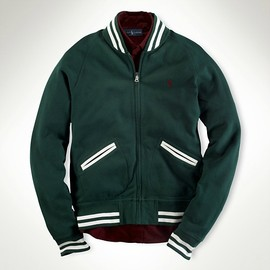 POLO RALPH LAUREN - College Green Fleece Baseball Jacket
