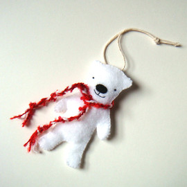 mikaart - Canadian Polar Bear Handmade Holiday Ornament Red & White Wall Hanging
