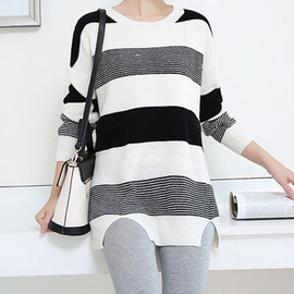 fashion - Image of [grxjy560365]Oversize Leisure Mixing Color Knit Long Sweater
