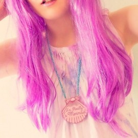 I'm Really a Mermaid!/アイム・リアリィ・ア・マーメイド/I Love crafty - I'm Really a Mermaid!/アイム・リアリィ・ア・マーメイド/I Love crafty/A Mermaid gave me this Pink Shell Blue Chain Necklace /ピンクの貝のブルーチェーンネックレス