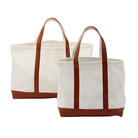 CONRAN SHOP - WHITE CANVAS TOTE WITH TAN LEATHER HANDLE