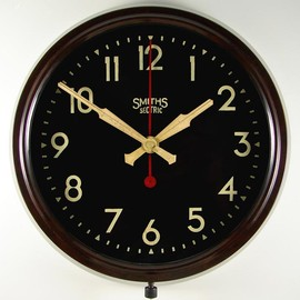 SMITHS SECTRIC - bakelite cased electric wall clock with 9 inch black dial