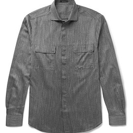 Berluti - Slim-Fit Cutaway-Collar Mélange Cotton Shirt