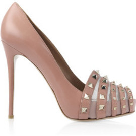 Valentino - Studded leather peep-toe pumps