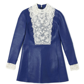 VALENTINO - Agnello Long Sleeved A-Line Dress With Embroidered Cuff