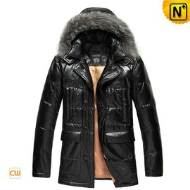 cwmalls - Bern Mens Leather Jacket with Down Filling CW848307