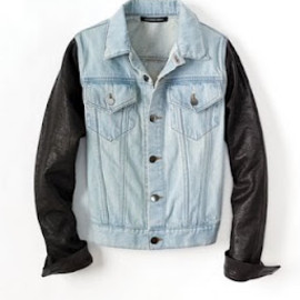 ALEXANDER WANG - Faded Denim Jacket with Leather Sleeves