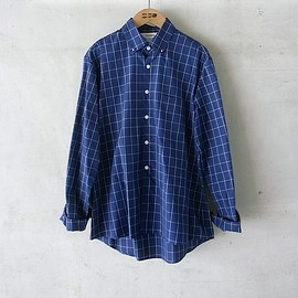 DIGAWEL - RIVET SHIRTS(WINDOWPANE)/navy