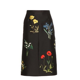 STELLA McCARTNEY - Embroidered cotton and silk-blend skirt