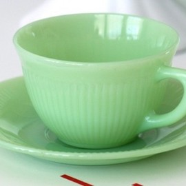 Fire King  - Jadeite Jane Ray cup and saucer