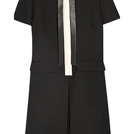 VALENTINO - Leather-trimmed wool and silk-blend crepe mini dress