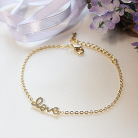 Bridesmaid gifts - Set of 5 - Love bracelet in gold