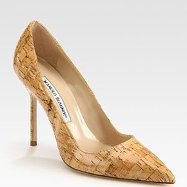 Manolo Blahnik - BB Classic Glazed Cork Point Toe Pumps