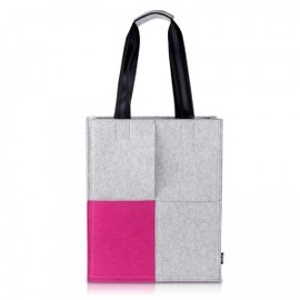 hallomall - Grey and Pink Woolen Felt Tote Bag for Women