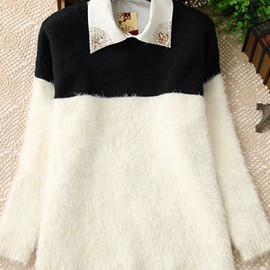 fashion - Image of [grzxy6600453]Sweet Cute Mixing Color Mohair Sweater
