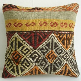 Sukan - Hand Woven - Turkish Kilim Pillow Cover - 16x16