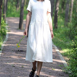 white cotton dress - Soft comfortable white cotton dress