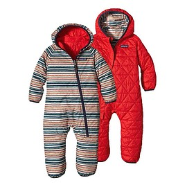 patagonia - Baby Reversible Puff-Ball Bunting - Fin Stripe: French Red FFNR