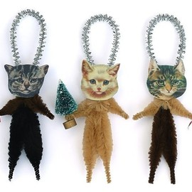 oldworldprimitives - Cat Christmas Tree Ornaments - Stocking Stuffer Under 25 - Pet Lover Hostess Gift