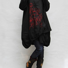 dress - Women autumn dress/ loose linen dress/ blouse shirt In black
