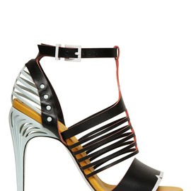FENDI - SS2015 105MM LEATHER CAGE SANDALS