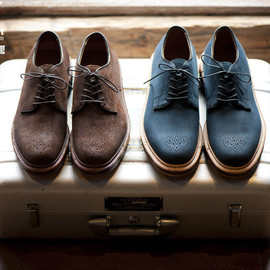 ALDEN, BLUE BLUE - 5EYE PLAIN TOE MEDALLION SHOES