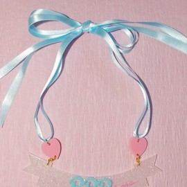 PPP - ●PPP● Ribbon Ribbon Necklace / white lace clear × milky blue