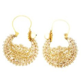 Antique Gold Filigree Hoop Earrings with Natural Pearls