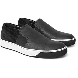 Lanvin - Grained-Leather and Suede Slip-On Sneakers
