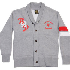 BBP - SHAWL COLLAR LETTERED SWEAT CARDIGAN