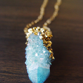friedasohie - Spirit Quartz Druzy Gold Dipped Necklace
