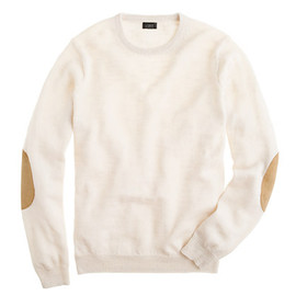 J.CREW - Slim rustic merino elbow-patch sweater (chalk)