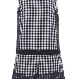 MSGM - Resort2015 Navy Gingham Dress With Lace Trim