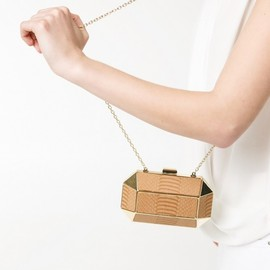 MANGO - MANGO Crocodile-Effect Geometric Box Clutch