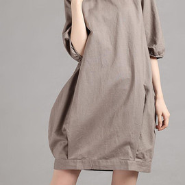 dress - Linen half sleeve Pile collar hoodie dress/ summer dress