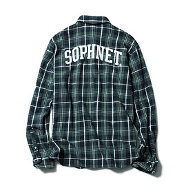 SOPHNET. - BACK ARCH LOGO NEP TWILL FLANNEL CHECK SHIRT