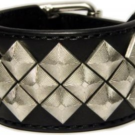 blackmeans - AC93-2 LEATHER WRISTBAND SILVER