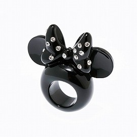 Q-pot. - MINNIE MOUSE'S EAR RING  BLACK  (SIZE#7)