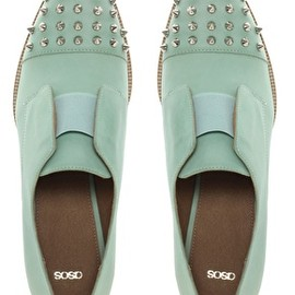 ASOS - ASOS MITCHELL Leather Flat Shoes With Spike