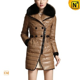 CWMALLS - Women Leather Padded Down Peacoat CW681153 - CWMALLS.COM