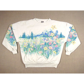 vintage - 1993 Pastel Floral Mountain Flower Meadow