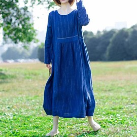 dress - Women's blue Dresses, Woman Long Sleeve dress, Loose round collar dress