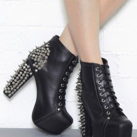 Jeffrey Campbell - Lita Spike Lace Up Studded  Black Ankle Boot