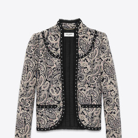 SAINT LAURENT - SS2015 STAND-UP COLLAR JACKET IN BLACK AND BEIGE PAISLEY MATELASSÉ COTTON